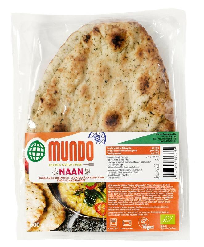 O Mundo O Mundo Naan Brot Knoblauch / Koriander 240 Gramm