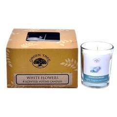 Duftkerze weiße Blume Votiv 55 Gramm