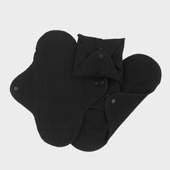 Damenbinde waschbar schwarz Mini 3 Stück