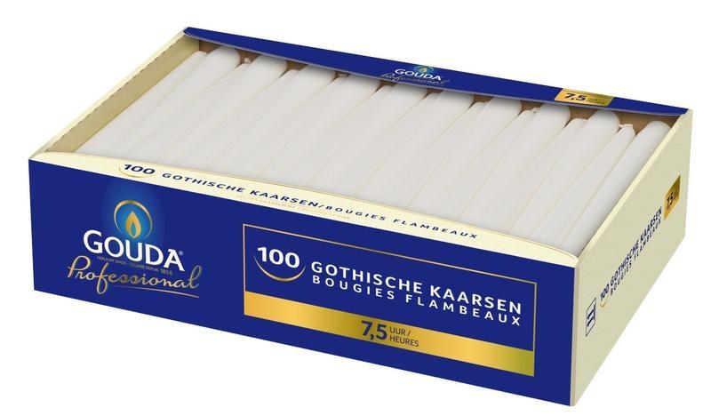Gouda Gotische Kerze 245/24 weiß 100 Stück