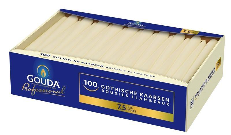 Gouda Gotische Kerze 245/24 Elfenbein 100 Stück