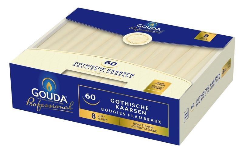 Gouda Gotische Kerze 250/24 Elfenbein 60 Stück
