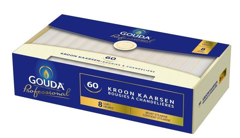 Gouda Kronenkerzenstearin 200/24 weiß 60 Stk