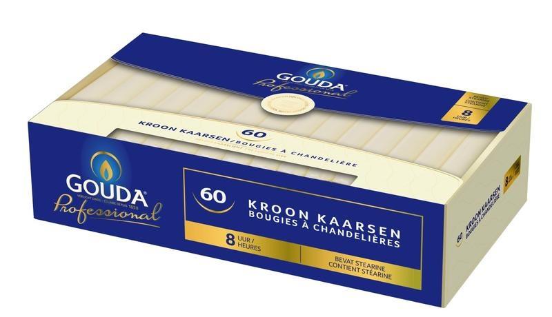 Gouda Kronenkerzenstearin 200/24 Elfenbein 60 Stk