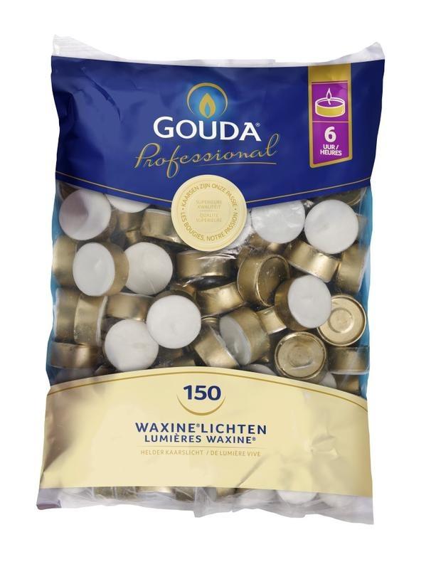 Gouda Teelicht 6 Stunden weiße Tasche 150 Stück
