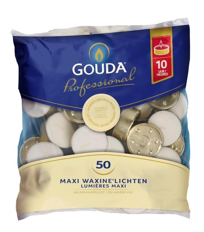 Gouda Maxi Teelicht 10 Stunden weiß 50 Stück
