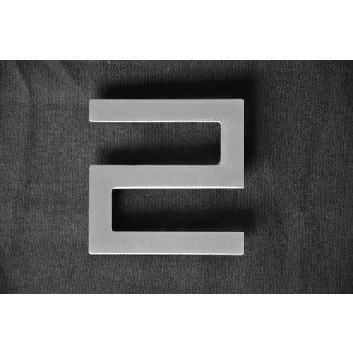 Mailbox design Numéro de maison en acier inoxydable - modèle Square, numéro 2