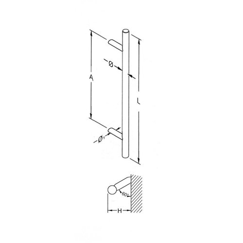 Mailbox design Door puller in T- shape with  diagonal supports   500/700/1200 mm