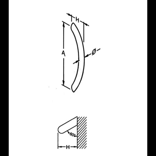 Mailbox design Gebogen inox deurgreep  ES- vorm, 25 mm