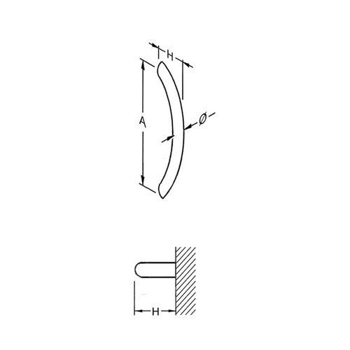 Mailbox design Poignée de porte en inox   ER- form 25 mm