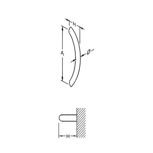 Mailbox design Door puller in stainless steel  ER- shape 25 mm