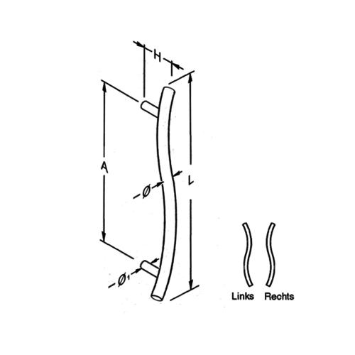 Mailbox design Stainless Steel Door Handle S- shape, 25 mm