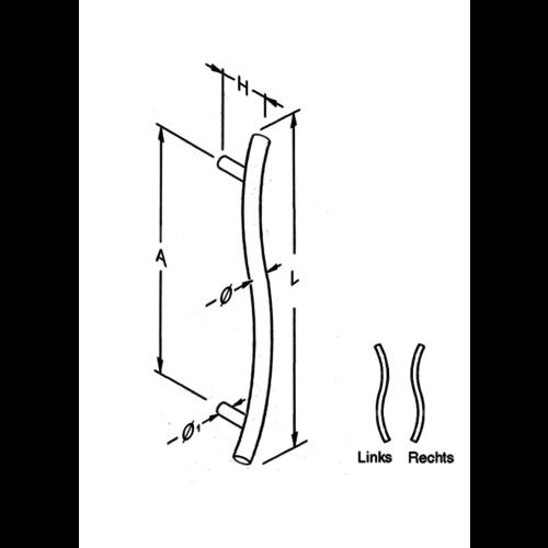 Mailbox design Inox deurgreep in  S- vorm 25 mm