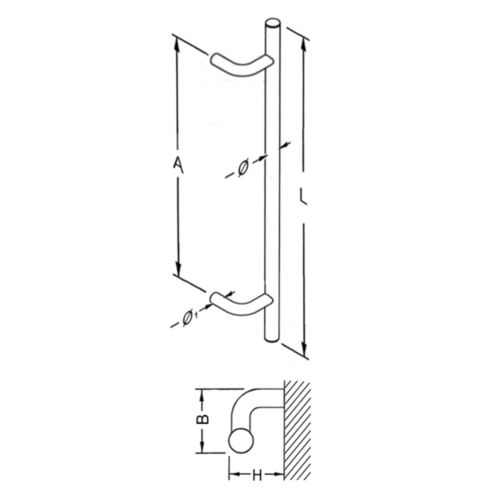 Mailbox design Door puller in stainless steel in the  TGS-shape 32 mm