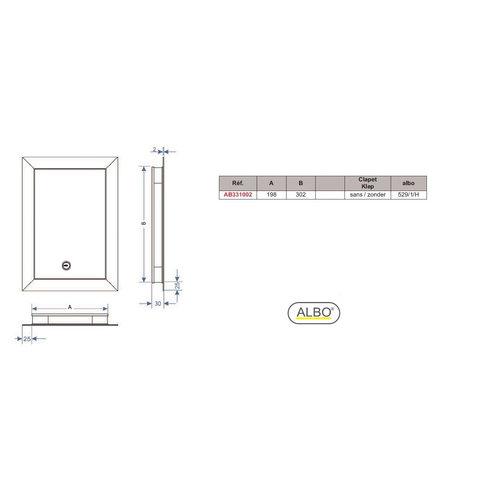 Albo Aluminium brievenbusdeur 529/1/H - RAL kleur naar keuze