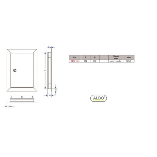 Albo Aluminium Letterbox Door - 529/3