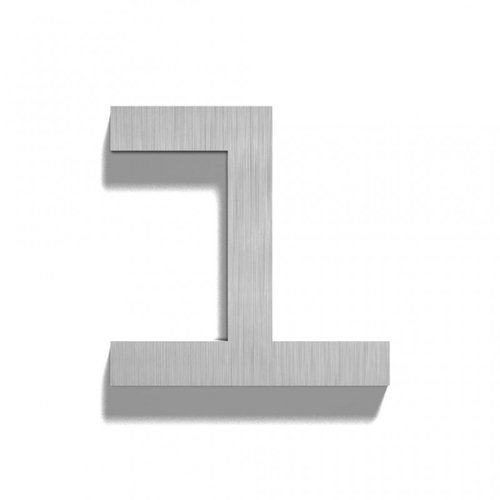 Mailbox design Stainless Steel House Number - model  Square, number 1
