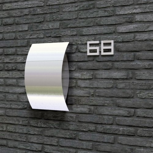 Mailbox design Stainless Steel House Number - model  Square, number 6