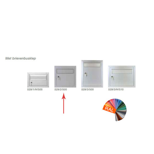 Albo Aluminium brievenbusdeur 529/2/505 - RAL kleur naar keuze