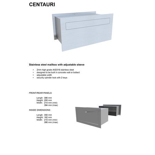 Galaxy Mailboxes Boîte  Aux  Lettres  Encastrée en inox -  Centauri