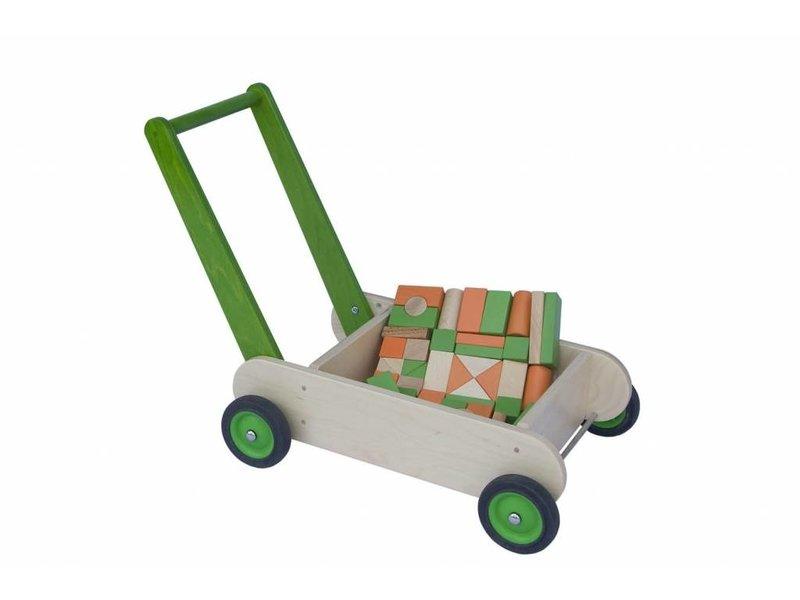Blokken-duwwagen groen