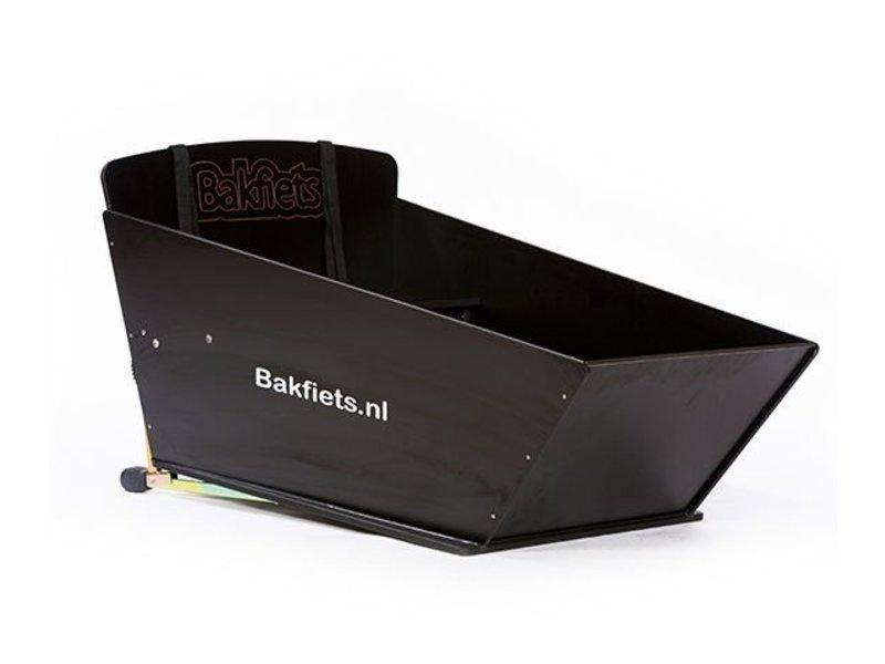 Bakfiets.nl Zwarte bak gemonteerd op de CargoBike Lang (i.p.v. de bruine bak)