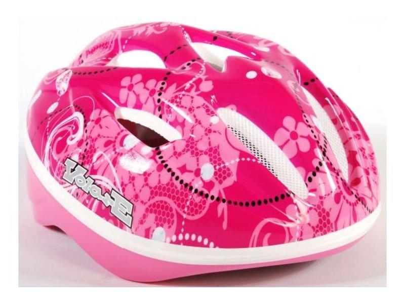 Volare Fietshelm Skatehelm Bloemen 51-55 cm deluxe roze / wit