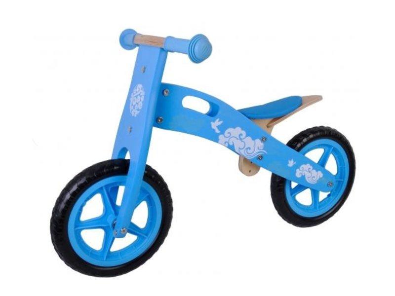 Yipeeh Houten 12 inch loopfiets blauw wit