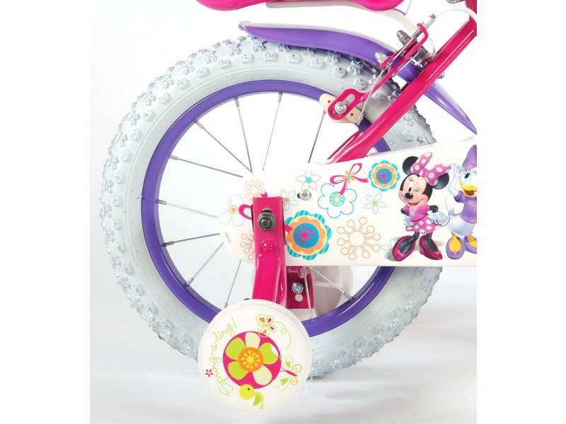 Disney Minnie Mouse Disney Minnie Bow-Tique 14 inch meisjesfiets twee handremmen roze / paars