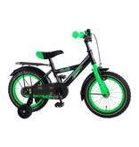 Volare Thombike Satin Black Green 14 inch jongensfiets zwart groen