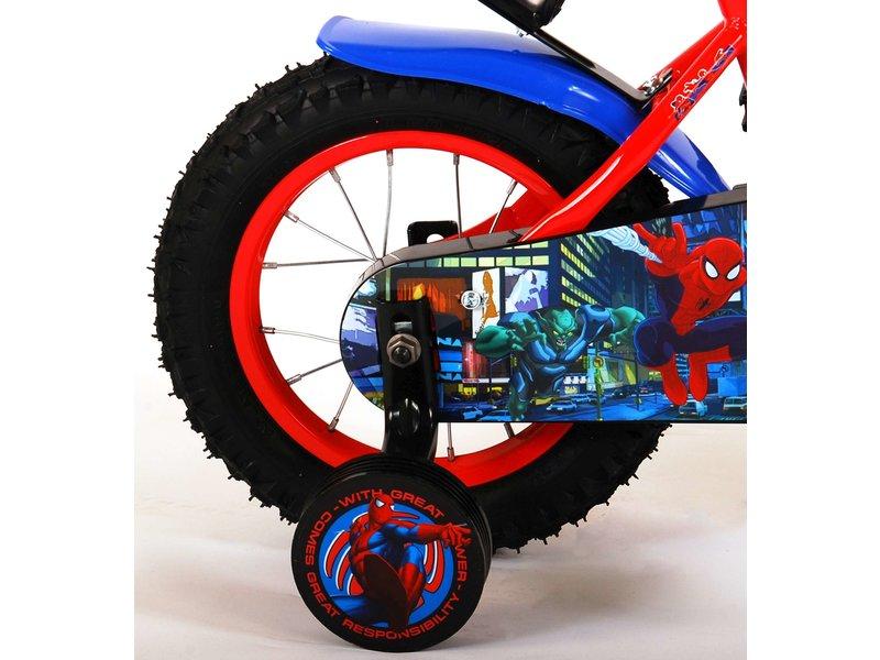 Ultimate Spider-Man 12 inch jongensfiets rood blauw