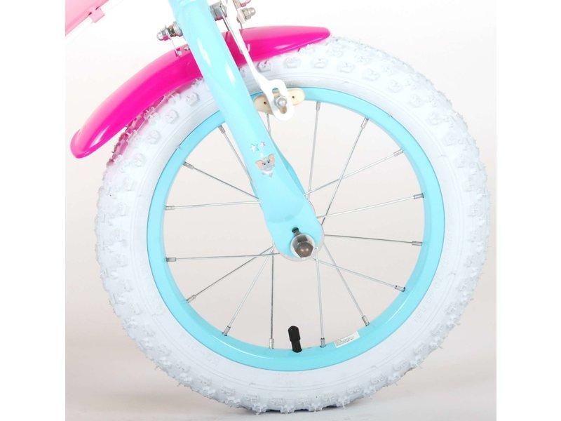 OJO 14 inch meisjesfiets roze blauw