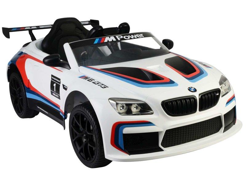BMW M6 GT3 Elektrische Auto met Afstandsbediening 12 Volt Yes 3 gears wit / blauw / rood