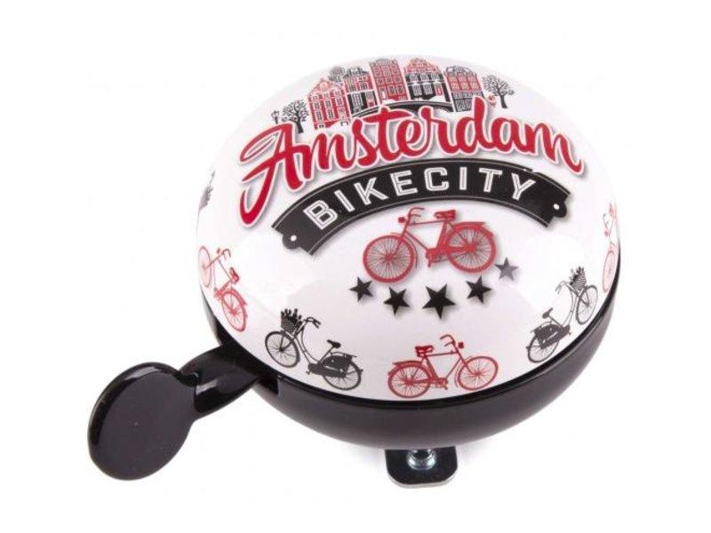 Amsterdam Fietsbel Bike City 80 mm wit zwart
