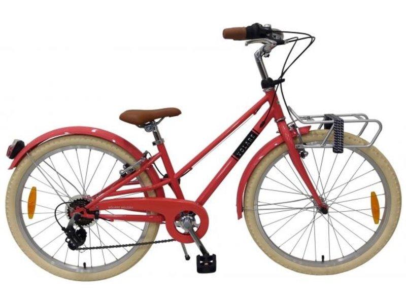 Volare Melody Pastel 6 speed 24 inch meisjesfiets Ja, 6 versnellingen pastel rood