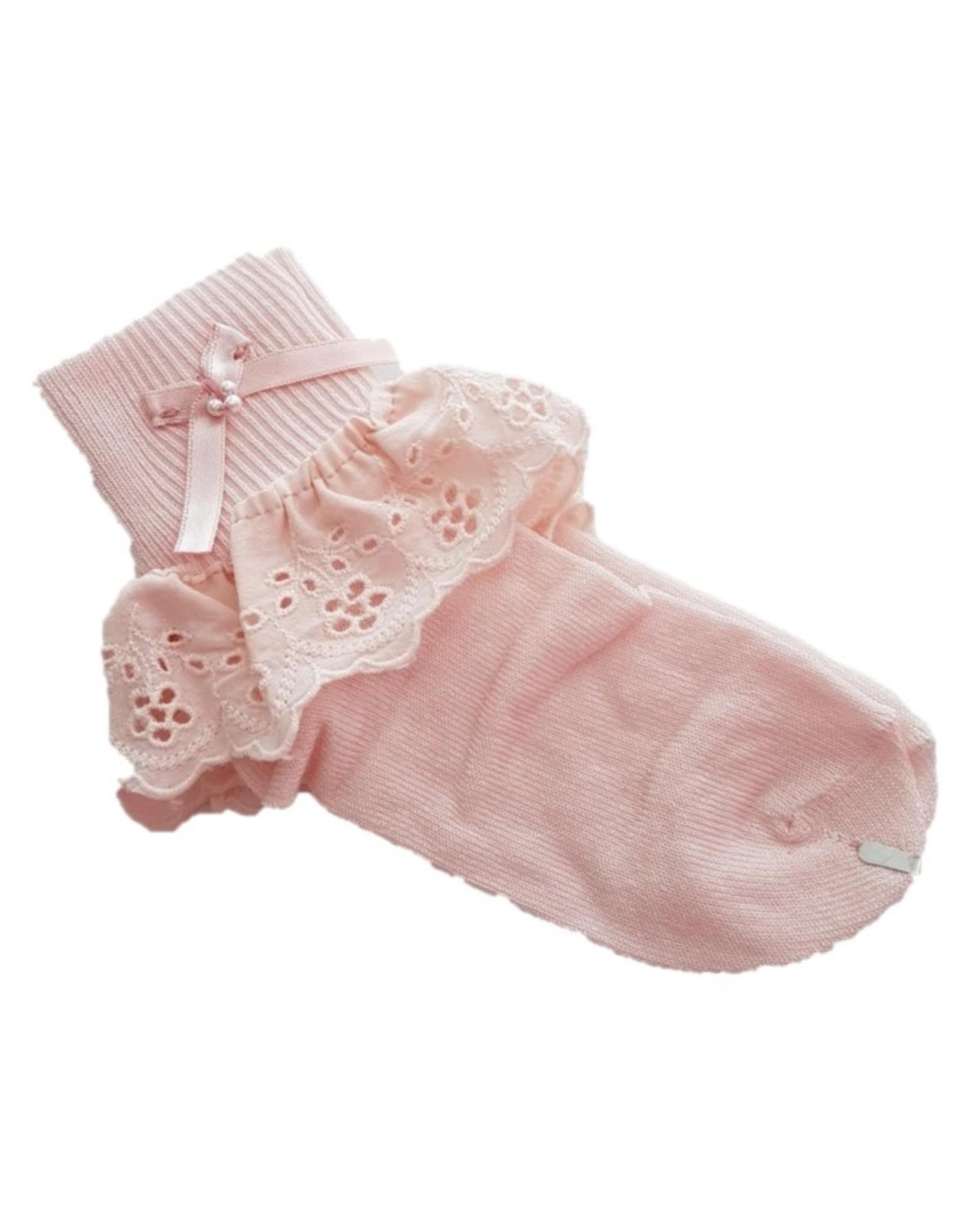 Meisjes sokken roze broderie