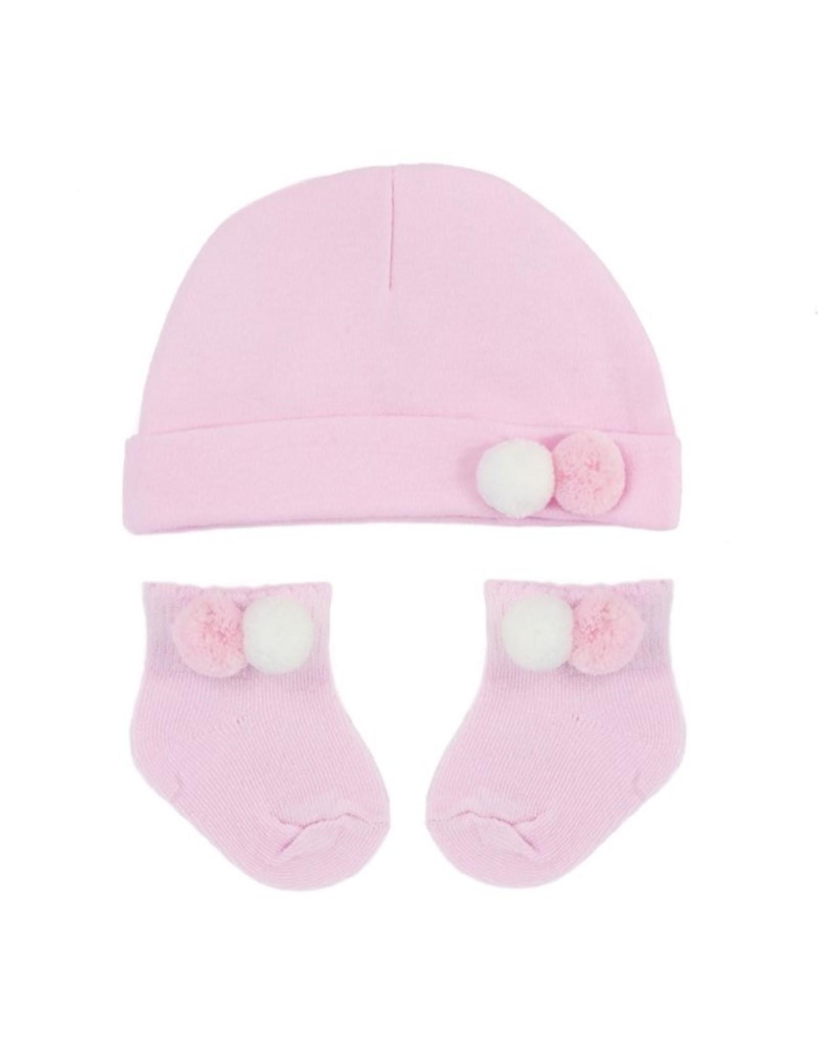 Muts en sokjes  roze/wit  pompoms