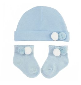Muts en sokjes  blauw/wit pompoms