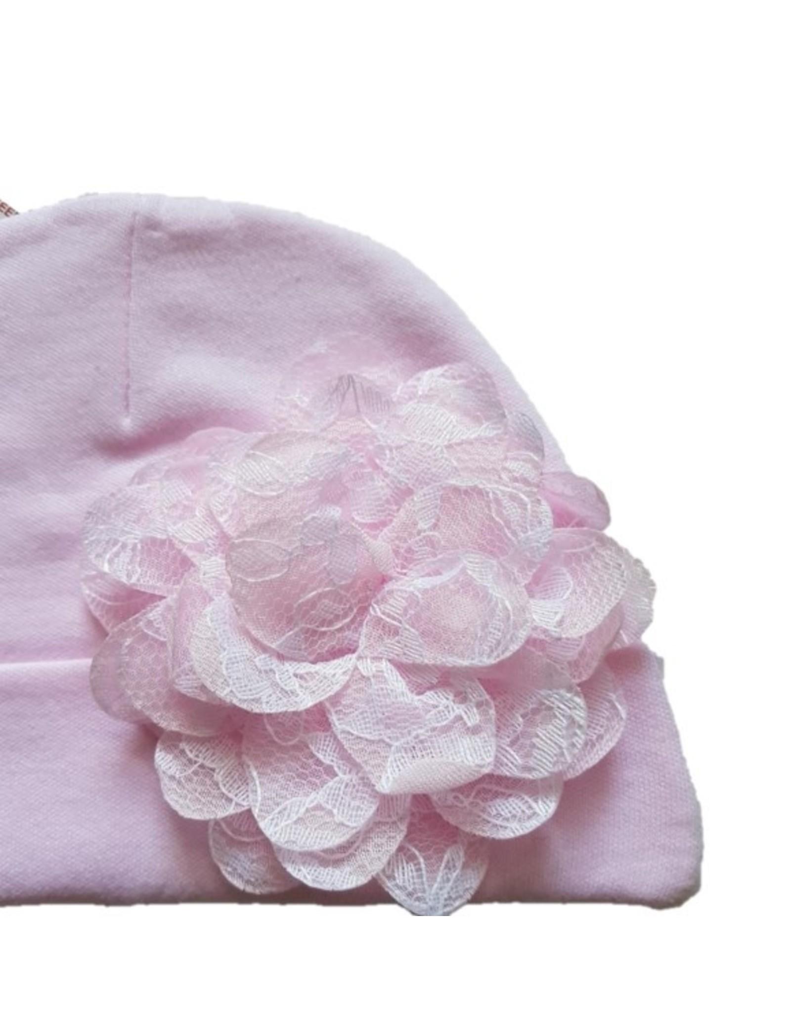 Muts Flora rose - met kanten bloem