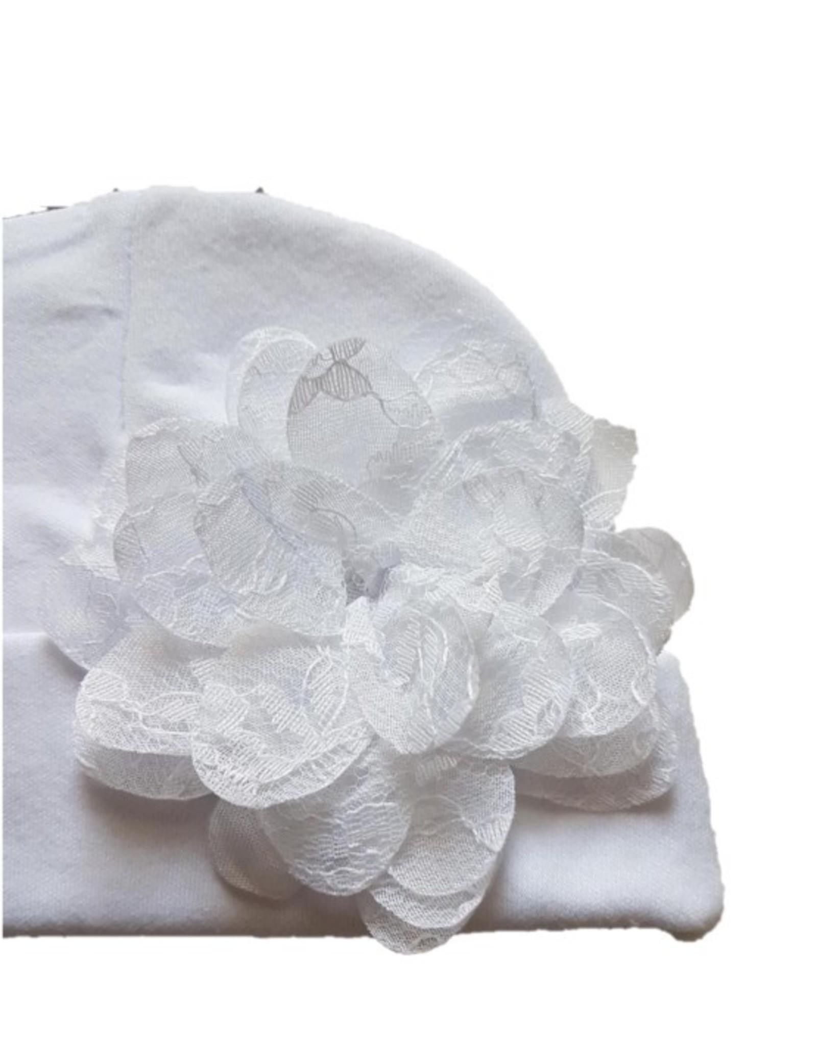 Muts Flora blanco - met kanten bloem