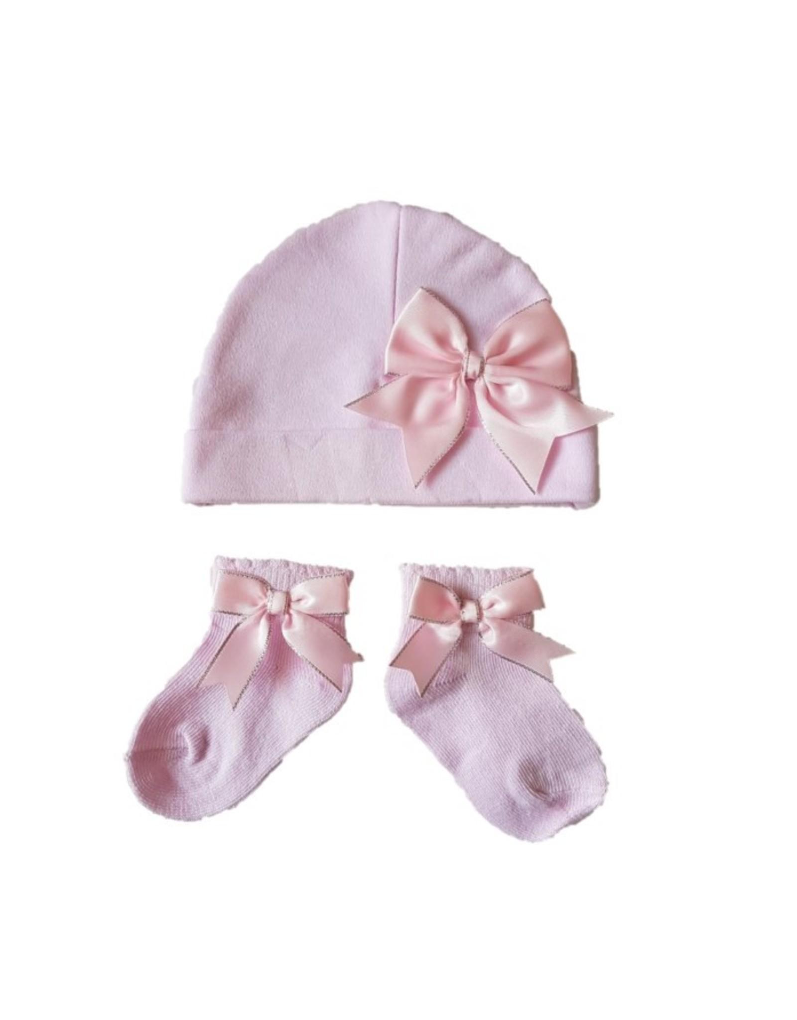 Muts en sokjes roze met strikken