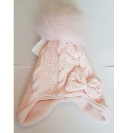 Winter muts Cable Pompom Pink