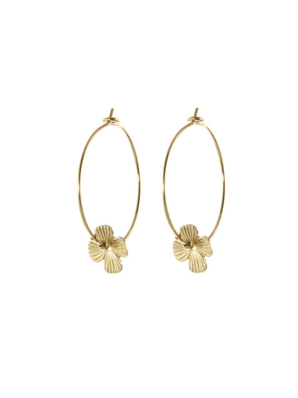 Blinckstar Earring Hoop Flower Gold