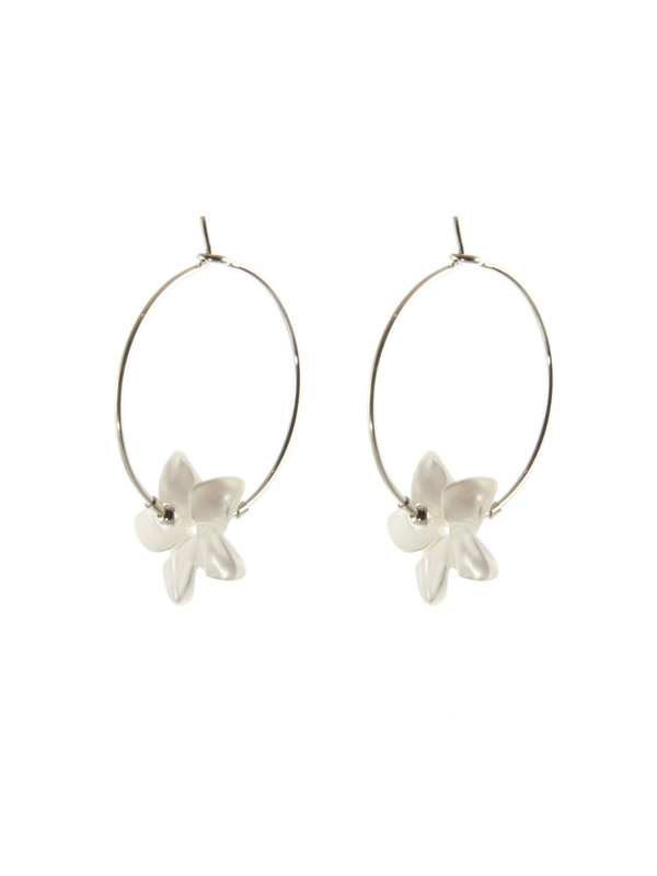 Blinckstar Earring Hoop White Flower Silver