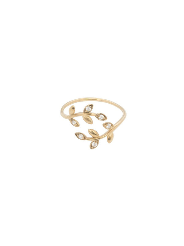 Ring White Twig Gold