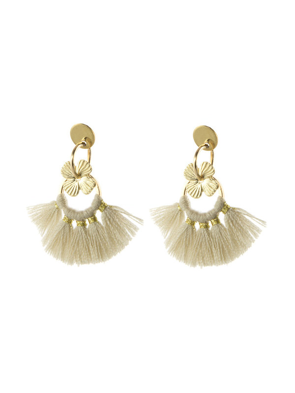 Blinckstar Stud Flower Cream Tassle Gold