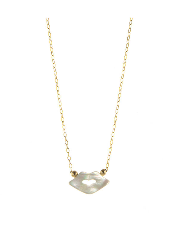Blinckstar Necklace White Lips Gold
