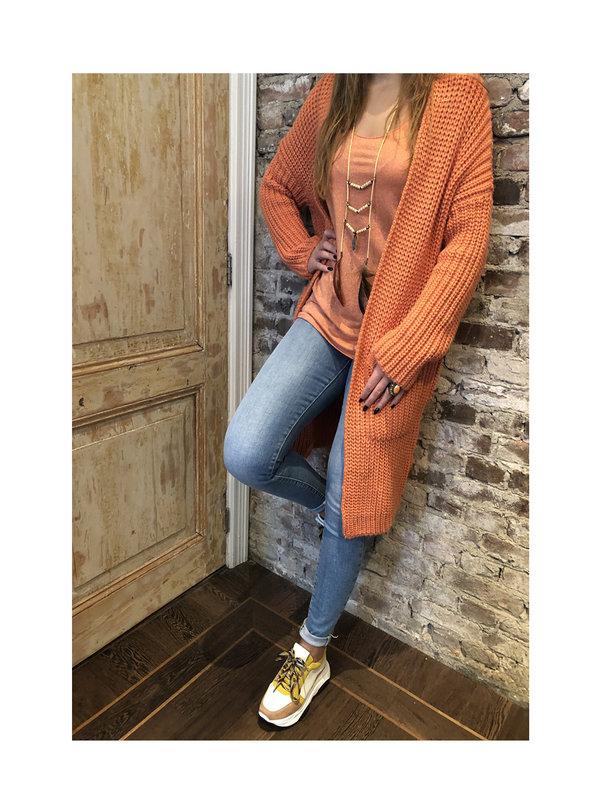 By Sara Collection Tisha lurex top oranje