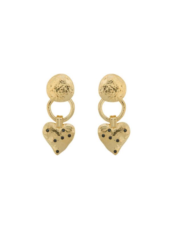 Anna + Nina Heart Earring Brass Gold