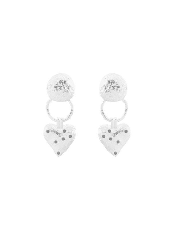 Anna + Nina Heart Earring Brass Silver